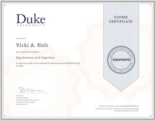 Dog Cognition Certificate